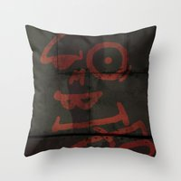 zombies Throw Pillows featuring Zombies by Chawalit Jitsanorh