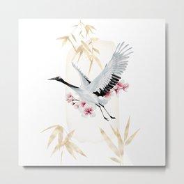 Gold bamboo crane and Japanese crane Metal Print
