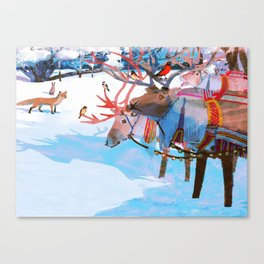 Reindeers and friends Canvas Print