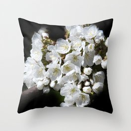 blossoms on black background -04- Throw Pillow