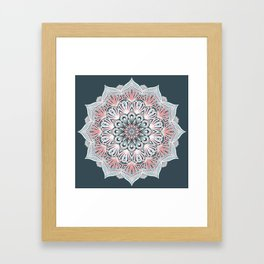 Expansion - boho mandala in soft salmon pink & blue Framed Art Print