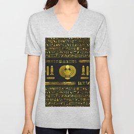 Ancient Egyptian Scarab Gold Obsidian Unisex V-Neck