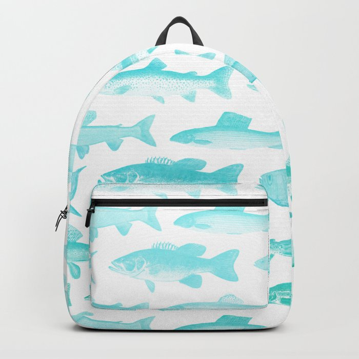 Fishes- Simple pattern in aqua on clear white Backpack