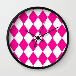 Diamonds (Magenta/White) Wall Clock