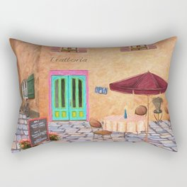 Trattoria Square – Italy – Painting by Liane Wright Rectangular Pillow