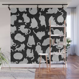 Silver Cats on Black Kitty Pattern Wall Mural