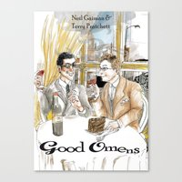 good omens Canvas Prints featuring Good Omens water colours by Dangerpro