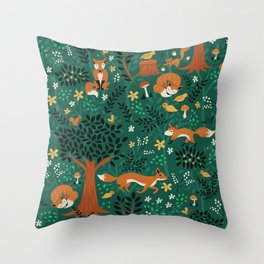 Foxes Playing in the Emerald Forest Throw Pillow