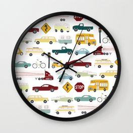 Beep Beep! Cars and Trucks Traffic Pattern Wall Clock