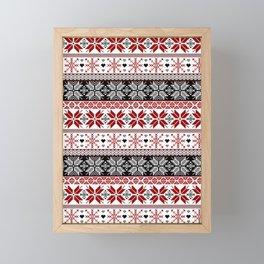 Winter Fair Isle Pattern Framed Mini Art Print