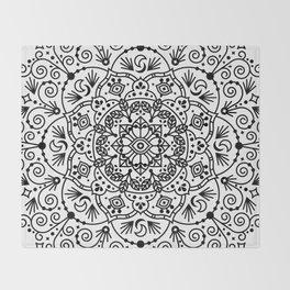 Moroccan Mandala – Black Ink Throw Blanket