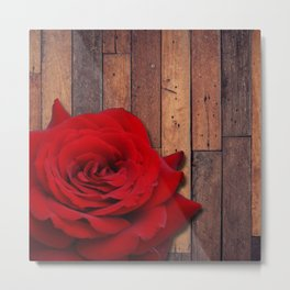 Red Rose & Wooden Background Metal Print
