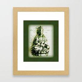 Antique Green Kwan Yin Framed Art Print