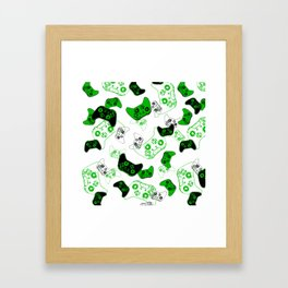 Video Game White and Green Framed Art Print