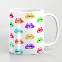 lip Mugs featuring Lip Print by Vicky Ink.