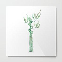 Green bamboo watercolor Metal Print