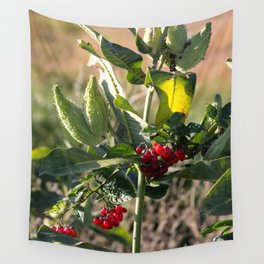 Milk weed and red berries Wall Tapestry