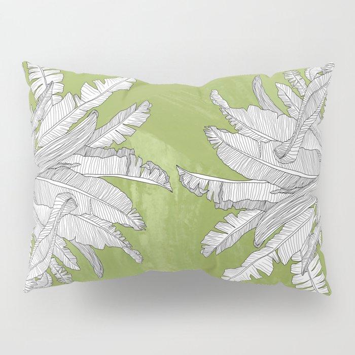 Banana Leaves Illustration - Green Pillow Sham
