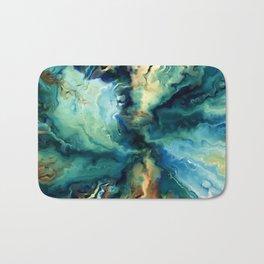 Marbled Ocean Abstract, Navy, Blue, Teal, Green Bath Mat