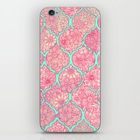 moroccan iPhone & iPod Skins featuring Moroccan Floral Lattice Arrangement in Pinks by micklyn