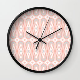 Ikat Teardrops in Pale Peach and Gray Wall Clock
