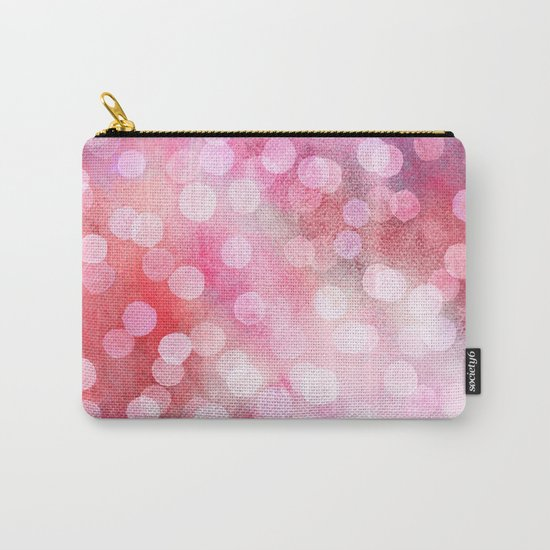 Strawberry Sunday - Pink Abstract Watercolor Dots Carry-All Pouch
