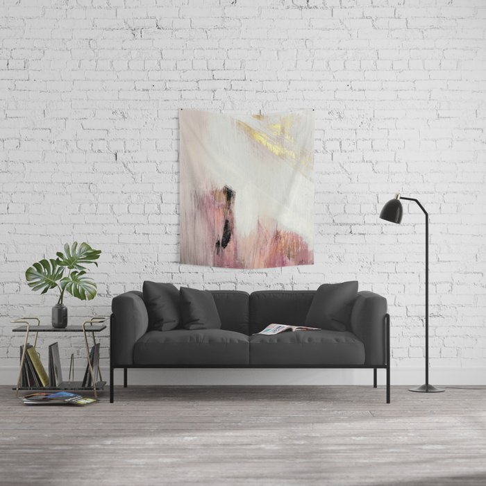Sunrise [2]: a bright, colorful abstract piece in pink, gold, black,and white Wall Tapestry