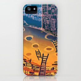 Time through Time, from Caves to Skyscraper, from Organic to Geometric iPhone Case