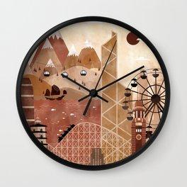 Hong Kong Travel Poster Illustration Wall Clock