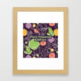 Plant Powered Kitchen Veggie Pattern Background Framed Art Print
