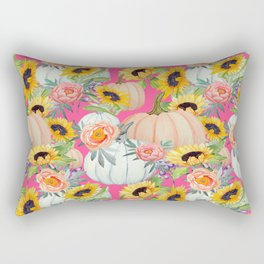 Sunflowers, pumpkind and peonies on pink Rectangular Pillow