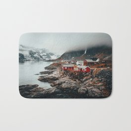 Foggy Coastal Town Seascape Bath Mat