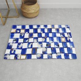 Blue and White Checks Rug