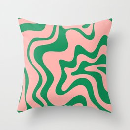 Liquid Swirl Modern Retro Abstract Pattern in Pink and Bright Green Throw Pillow