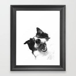 Black and White Happy Dog Framed Art Print