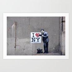 Banksy Doctor checking on I Heart NY Art Print