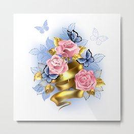 Pink Roses with Gold Ribbon Metal Print