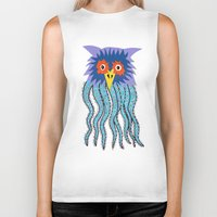 cthulu Biker Tanks featuring the owl of cthulu by ronnie mcneil