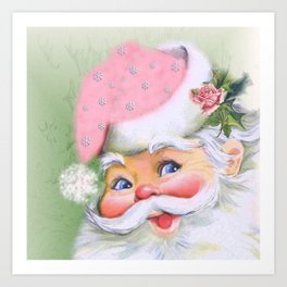smiling retro Santa Art Print