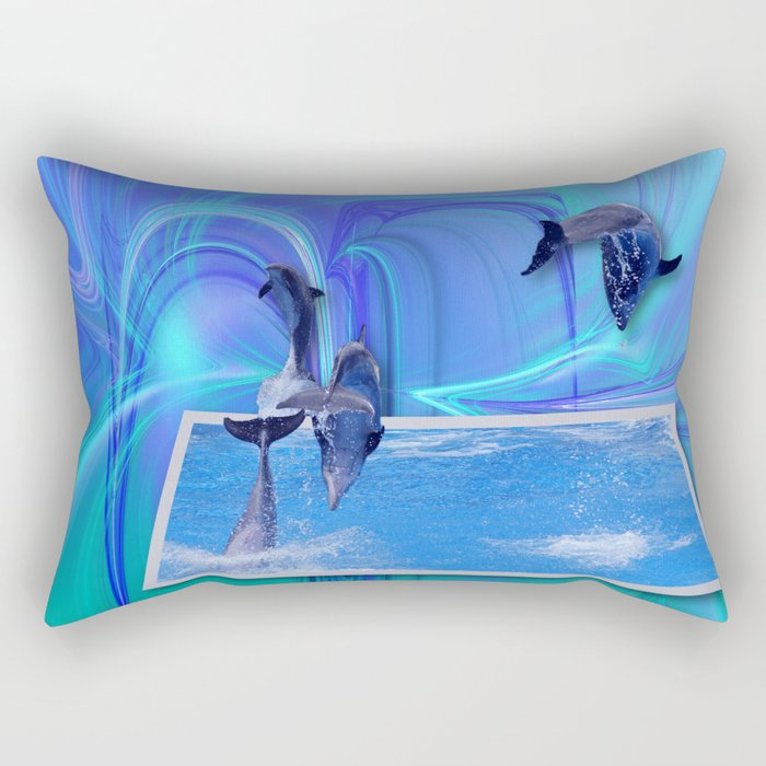 Leaping Dolphins Rectangular Pillow