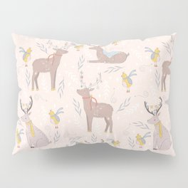 Christmas Deer and Bird Pillow Sham