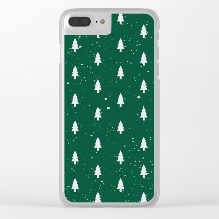 Christmas Trees Pattern Green Clear iPhone Case