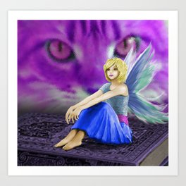Cat Observes Fairy Art Print