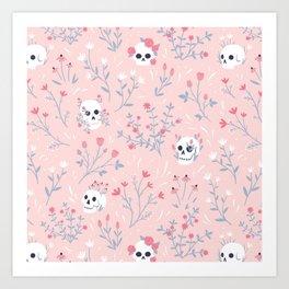 Skull Floral (Pink) Art Print