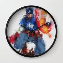 Captain of America Abstract Painting Wall Clock