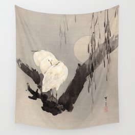 Egrets in a Tree at Night Wall Tapestry