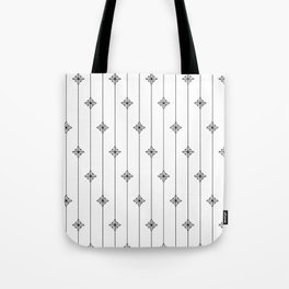 White and Black Geometric Floral Pattern Tote Bag