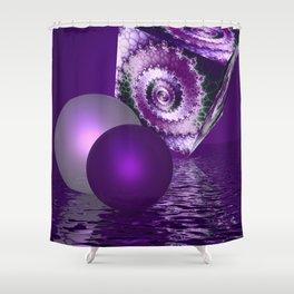 violet fractal cube Shower Curtain
