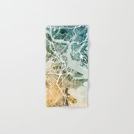 Boston Massachusetts Street Map Hand & Bath Towel