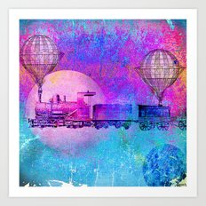 Train in the space Art Print
